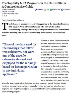 mfa creative writing rankings 2012