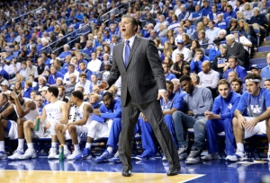 LEXINGTON, KY - FEBRUARY 14:  John Calipari the head coach of the Kentucky Wildcats gives instructions to his team during the game against the South Carolina Gamecocks at Rupp Arena on February 14, 2015 in Lexington, Kentucky.  (Photo by Andy Lyons/Getty Images)